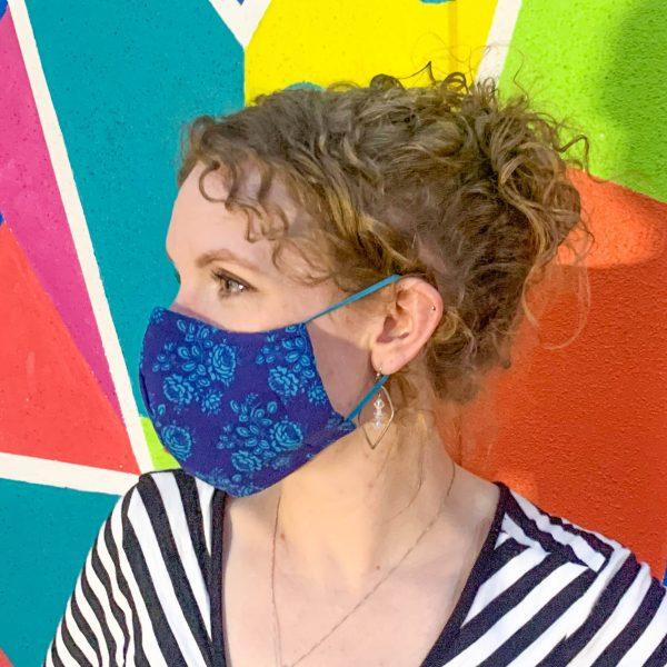 dark blue floral face mask