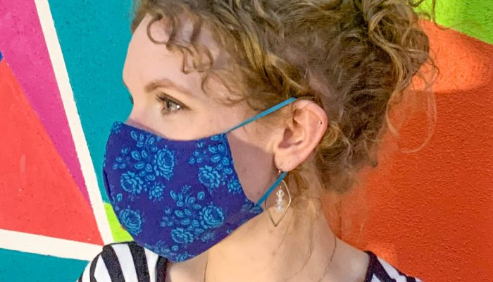 Shaped Style Face Mask – Dark Blue Floral Print