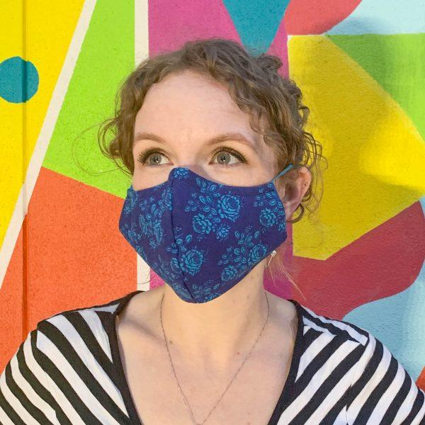 dark blue flower face mask