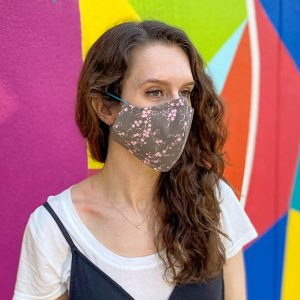 light brown and pink floral face mask