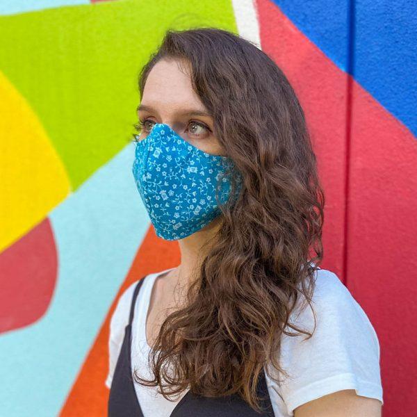 blue floral face mask