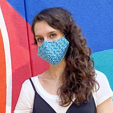 blue dot face mask