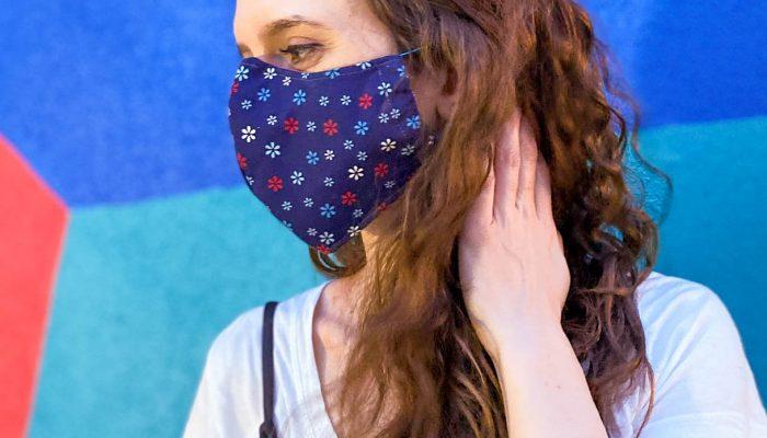 Shaped Style Face Mask – Dark Blue Print