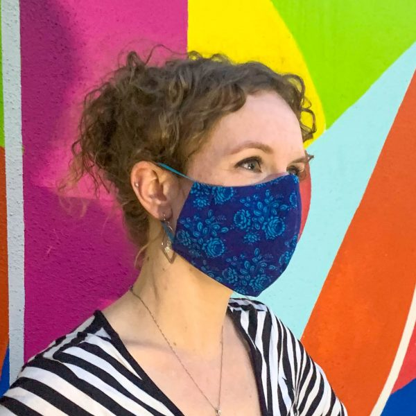 dark blue flowers face mask